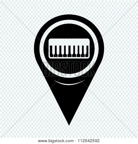 Map Pointer Music Icon