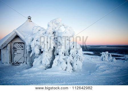 Cold winter in Lapland Finland