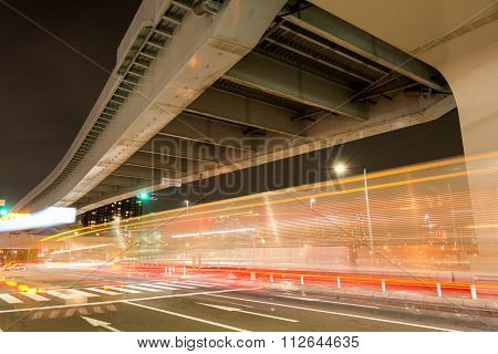 Light trails and overpass