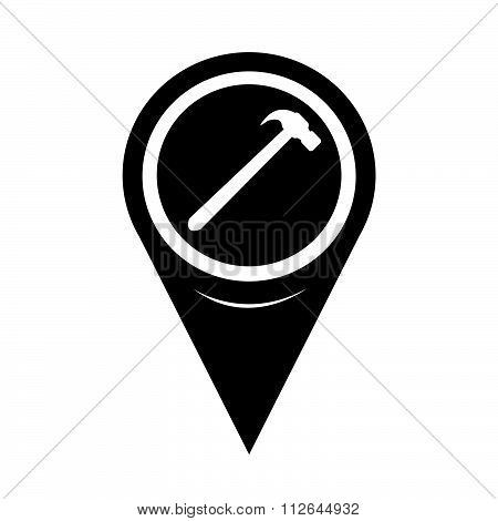 Map Pointer Hammer Icon