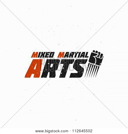 Mixed Martial Illustration with Flying Fist. Vector picture.
