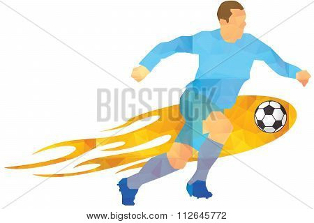 Vector - Soccer player kicks the ball.