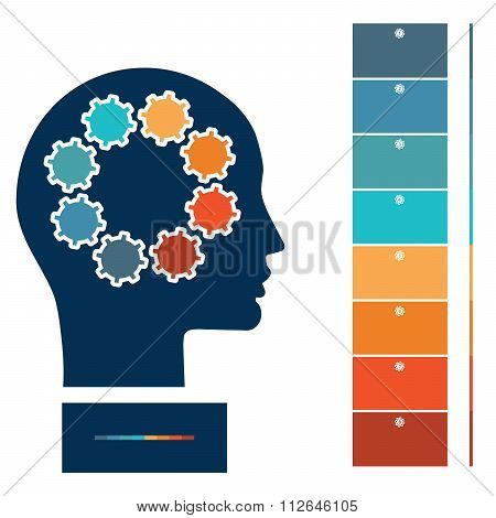 Illustration For Infographic, Head And Gearwheels
