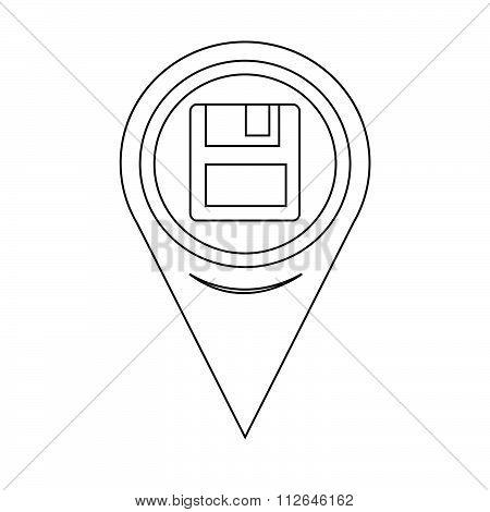 Map Pointer Floppy Disk Icon