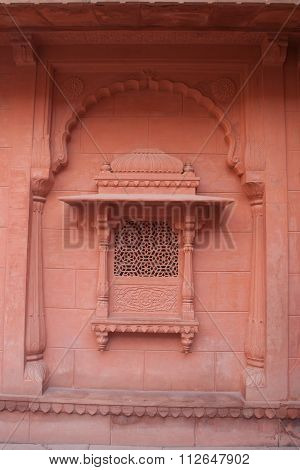 Ornate Arched Red Sandstone Window In Bikaner