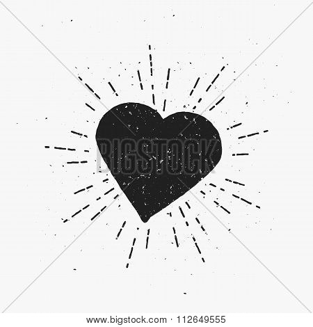Vintage Heart Illustration.