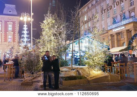 Tourists On Jelacic Square At Advent