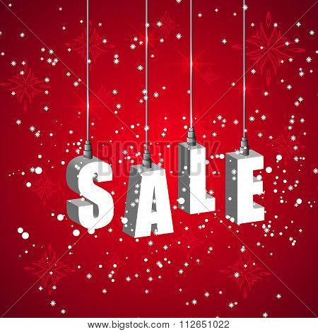 Winter Sale Red Banner With White Hanging Letters.