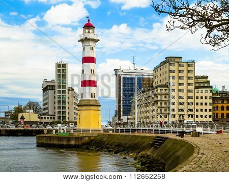 Striped Lighthouse in Malmo, Sweden