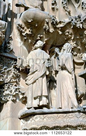 Architectural Details Of Sagrada Familia Barcelona Spain