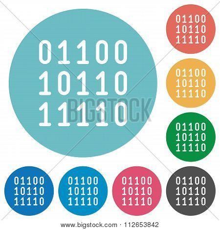 Flat Binary Code Icons