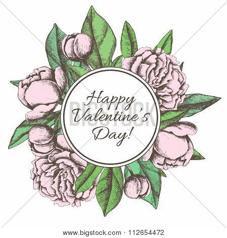 Vintage Happy Valentines Day Card With Hand Drawn Botanical Peony