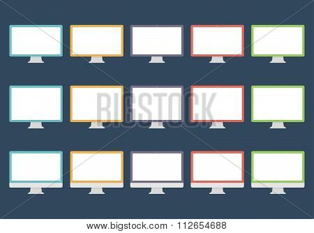 Monitor Icons Set In The Style Flat Design On The Dark Background. Stock Vector Illustration Eps10