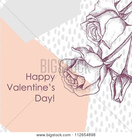Modern Happy Valentines Day Card With Hand Drawn Botanical Rose