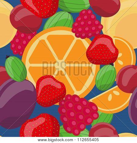 Vector seamless fruit pattern Oranges gooseberries strawberries plums cherries raspberries apricots.