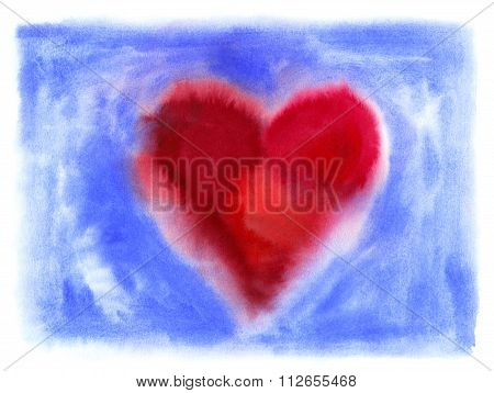Bright Abstract Heart On Blue Background