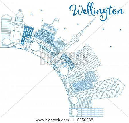 Outline Wellington skyline with blue buildings and copy space. Vector illustration. Business travel and tourism concept with place for text. Image for presentation, banner, placard and web site.