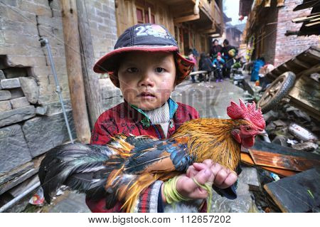 Chinese Boy Farmer Is Holding Rooster Bright, Multi-color Painting.