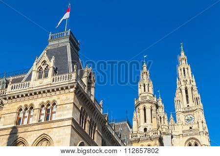 Rathaus Of Vienna. Town Hall Facade Fragment