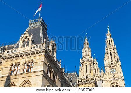 Rathaus Of Vienna. Town Hall Facade Fragment