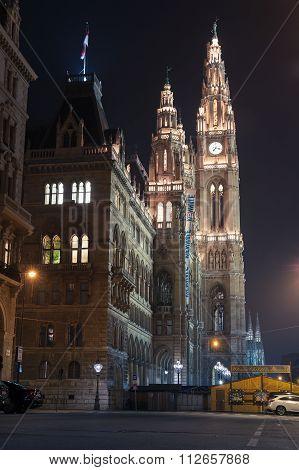 Rathaus Of Vienna, Facade With Night Illumination