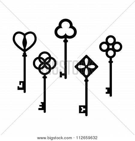 Set of beautiful antique keys. Collection of vintage keys. Vector illustration.