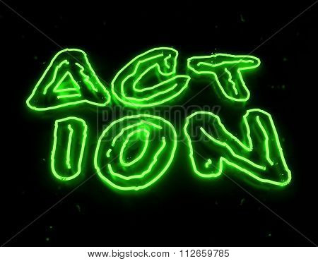 3d render action neon sign isolated on black background