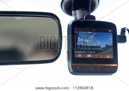 Recording Car Camera On The Front Window
