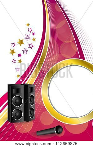 Background abstract karaoke microphone loudspeaker star pink yellow vertical gold ribbon circle