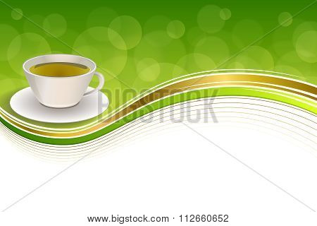 Background abstract drink green tea cup gold frame illustration vector