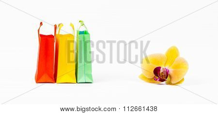 bright colored shopping bags