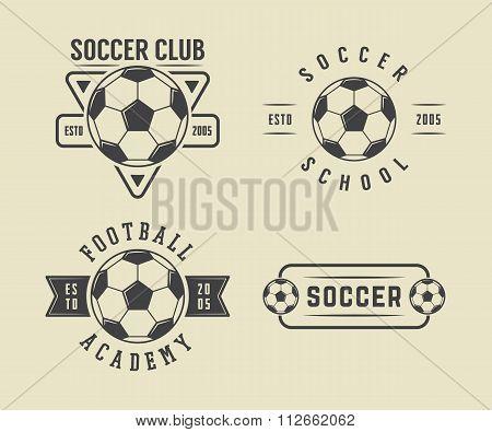 Set Of Vintage Soccer Or Football Logo, Emblem, Badge In Retro Style. Vector Illustration