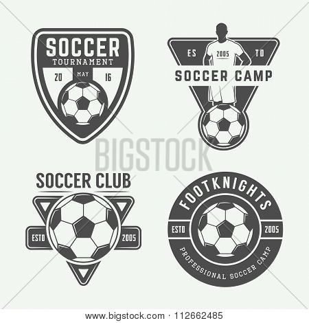 Set Of Vintage Soccer Or Football Logo, Emblem, Badge. Vector Illustration