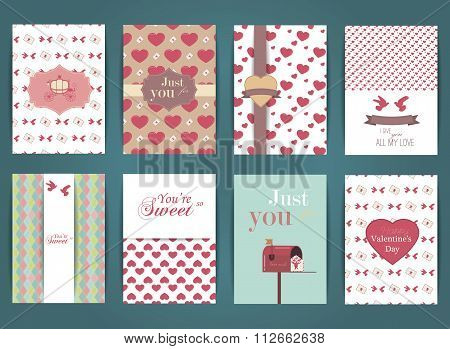 Valentines day and Wedding day Set. Vintage and romantic backgrounds. Vector Design Templates Collec