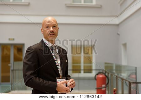 ST. PETERSBURG, RUSSIA - DECEMBER 14, 2015: Film director Fyodor Bondarchuk talk with press during St. Petersburg International Cultural Forum. Bondarchuk is the head of cinema section of the forum