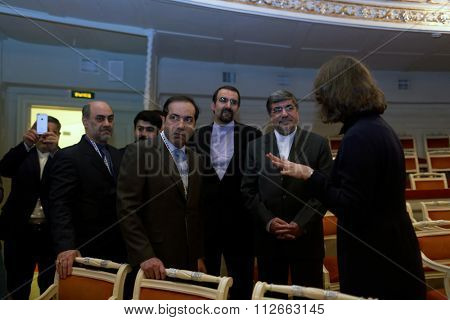 ST. PETERSBURG, RUSSIA - DECEMBER 15, 2015: Iranian delegation headed by the Minister of culture and Islamic Guidance Ali Jannati (second from the right) during 4th St. Petersburg Cultural Forum