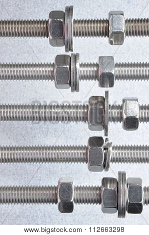 Metal bolt nuts and washers with metric thread