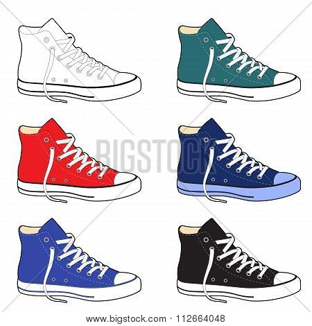 Unisex Outlined Template Sneakers Set Side View