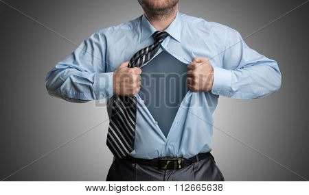 Businessman with emptiness inside his shirt