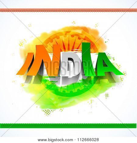 Creative tricolour text India on Ashoka Wheel decorated background for Happy Indian Republic Day celebration.