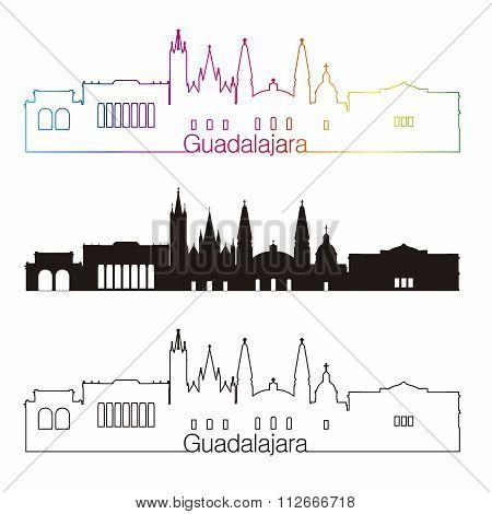 Guadalajara Skyline Linear Style With Rainbow