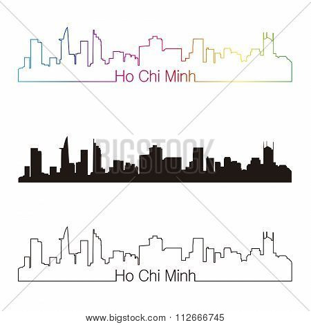 Ho Chi Minh Skyline Linear Style With Rainbow