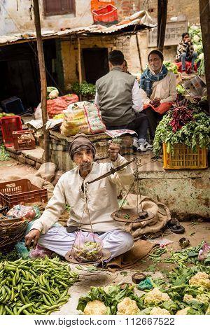 A Local Food Market in Varanasi, India