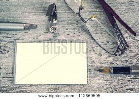 Pen, Sunglasses, Badge, Blank Id Card