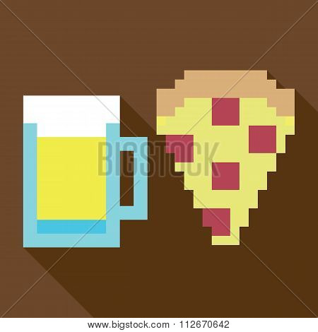 Pizza and beer. Fast food dynamic duo vector icon