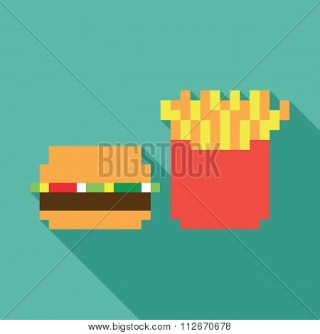 Burger and fries dynamic duo flat design icon