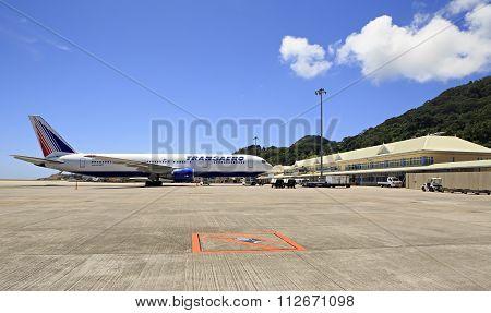 Transaero Airlines plane at Seychelles International Airport on Mahe Island.