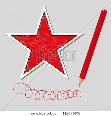 Vector illustration dashed star and pencil