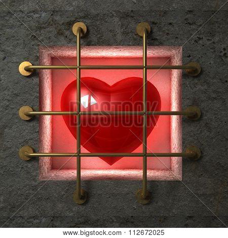 Heart behind gold bars