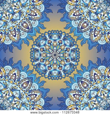 Colorful Blue Seamless Pattern.